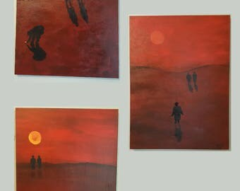 Trilogy - Set of three abstract figurative acrylic paintings