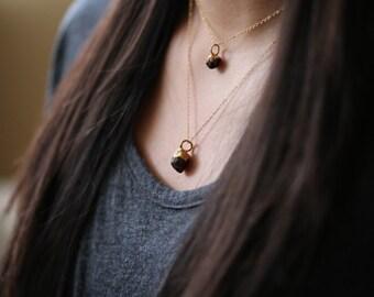 Raw Garnet Pendant, Rough Garnet Necklace, Rough Layered Necklace, Raw Layered Pendant, Raw Boho Necklace, Rough Layering Necklace