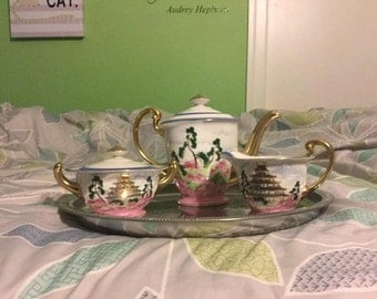Chinese Tea Set, Hand Painted by ACME Co., Gold trim detail, 4 serving tray & cups, teapot,sugar and creamer