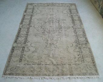 5'6''x8'9'' Turkish Oushak Rug, Handmade Vintage Rug
