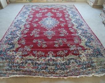 10'x16'3'' Antique Kerman Rug, Handwoven Persian Carpet, Vintage Handmade Rug from 1800s
