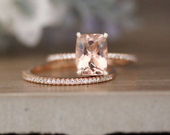 Bridal Ring Set with 9x7mm Cushion Morganite and Diamonds in 14k Rose Gold, Morganite Engagement Ring, Diamond Half Eternity Band
