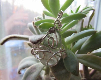 Teardrop Wrapped Pendant with Silver Plated Chain