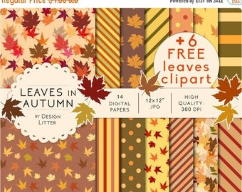 80% Until New Year - Autumn digital paper: leaves for fall scrapbook paper and autumn background with leaves and strips for cards, invites ·