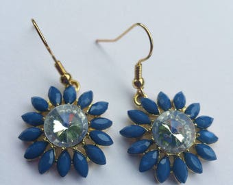 Large Blue and gold flower dangle earrings with large clear crystal center