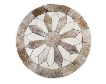 "Cowhide Patchwork Area Rug ""LONDON"" / Round / Hand Stitched / Handmade / 5'9"" / White Gray / European Import"