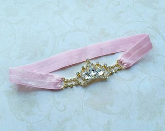 Rhinestones crown headband - birthday headband - crown headband - baby crown headband - girl crown headband - newborn crown headband