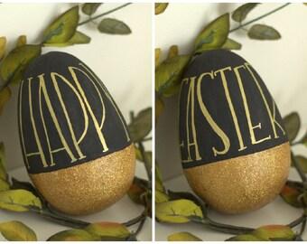 Happy Easter Black And Gold Glitter Egg Spring Decor