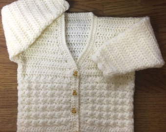 Printed DK Crochet Pattern For Baby/Child V Neck Cardigan. Sizes 3 months to 6 years (1005)