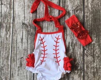 Baseball Romper and matching headband