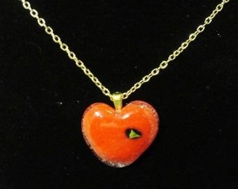 EH-P156 Pendant Heart, red and clear fused glass with a golden accent