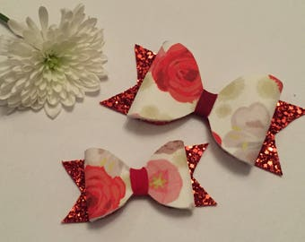 Red floral girls childrens hair bow headband