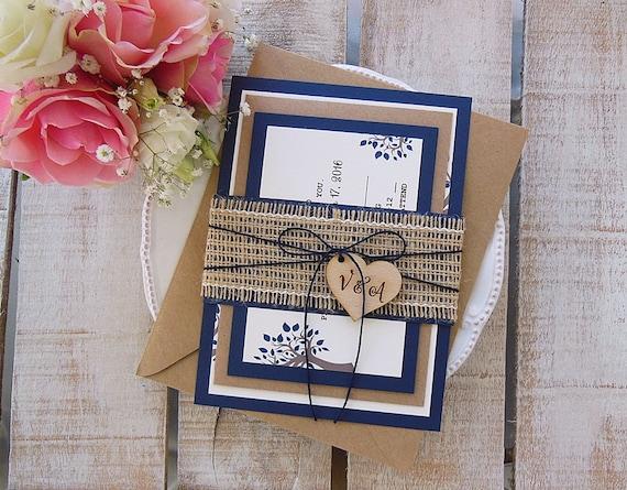 Rustic Wedding Invitation Suite, Rustic Wedding, Custom Wedding Invitation, Burlap Wedding Invitation, Rustic Invitation, Rustic Assembled
