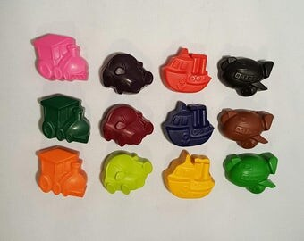 Plane Train Boat Car Crayons - Set Of 6 - Kids Colouring - Birthday Gifts - Loot Bags - Party Favors - Goody Bags - Christmas Gifts