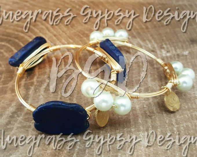 20% off Blue Howlite wire wrapped Bangle, Bracelet, Bangle, Bourbon & Bowties Inspired