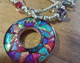 Dichroic glass necklace.