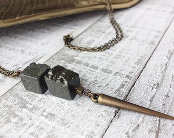 Modern Pyrite Pendant Necklace // Long Necklace // Natural Stone // Edgy Necklace // Spike Necklace // Gift for Her // Pyrite Jewelry