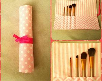 Makeup Brush Roll, Pink Polka-dot