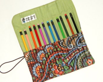 Pencil Roll Up Case, Creative Gift for Kids, Travel Coloring Organiser, Pencil Holder, Pencil Wrap, Pencil Pouch, Gift Idea, 12 Pencils