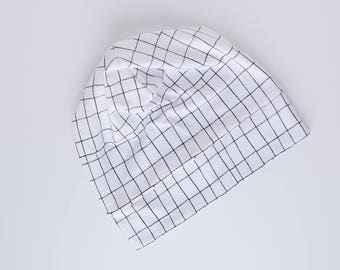 Slouch beanie, spring beanie, summer hat, monochrome, black and white, kids hat, adult hat, twinning, grid