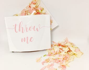 Flower petal confetti - pale pink & off white flower confetti - eco friendly confetti - calligraphy 'throw me' packet - vintage weddings