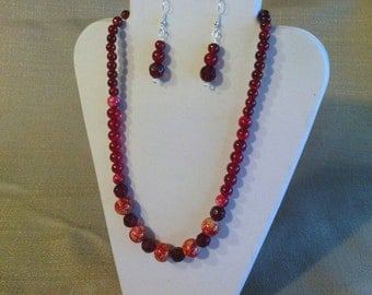 196 Fancy Red Marble Style Beads and Ab Fire Polished Faceted Round Glass Beads Beaded Necklace