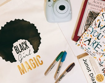 Black Girl Magic | Large Tote Bag | Custom Tote | Purse | Grocery Bag | Curly Girl | Personalized | Canvas