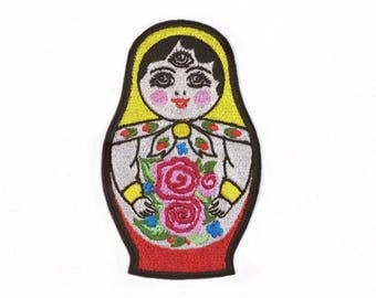 Matryoshka Patch Iron On Embroidered Patches Applique • Russian Doll Eye Concept Art Street Fashion Punk