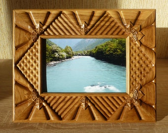 Wooden Picture Frame Wood Carved Photo Frame Vintage Style Photo Frame 4x6  Gift