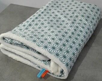Fleece baby blanket and cotton oeko tex blue
