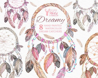 Dreamcatcher Watercolor Clipart, Dream Catcher Native American Clipart Set, Hand Painted Watercolor Clipart, DreamCatcher Feather Clipart