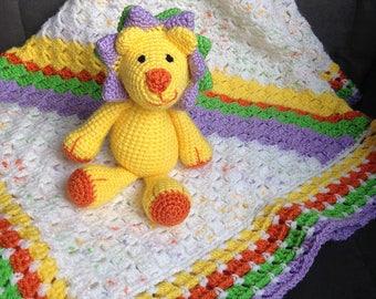 Crochet Baby blanket with stuffed animal Louis Lion