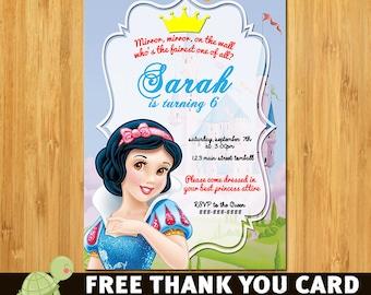 Snow White Invitation, Snow White Party, Snow White Birthday, Snow White, FREE Than you Card