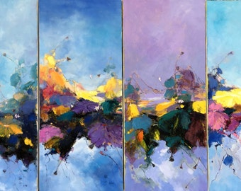 4 panels of waterlily oil painting 129