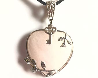 Rose Quartz Crystal Key to my Heart Pendant,rose quartz jewellery,crystal of love,spiritual gifts,rose quartz necklace,healing crystals,gems