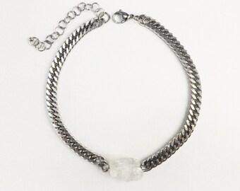 Quartz crystal choker, Crystal necklace, Chunky chain necklace, Raw quartz necklace, Rough crystal necklace, Crystal choker, Silver crystal