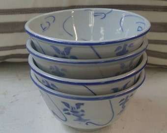 Chinese Hand Painted Blue & White Rice Bowl, set of (4)