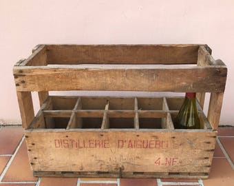 10 vintage Bottle French Wood Wine Box Case Rack Carrier aiguebelle 1204177