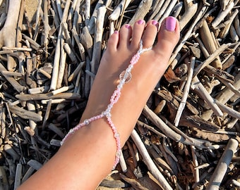 Mermaid barefoot sandals, Pink barefoot sandals, Pink feet jewelry, Cute anklets, Anklet jewelry, Beaded anklets