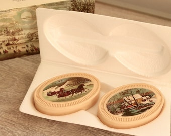 Avon Currier & Ives Winterscapes Set of 2 Guest Soaps