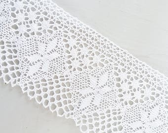 Crochet lace, ribbon lace trim, crochet ribbon, crochet trim, white lace ribbon, crochet lace trim,  wedding lace, crochet items