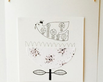 Pen & Ink Limited Edition Print, Snow Flower and Dove Illustration
