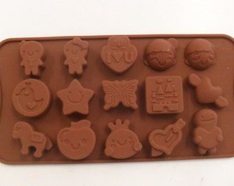 Chocolate mold different shapes & themes silicone 15 Pieces new