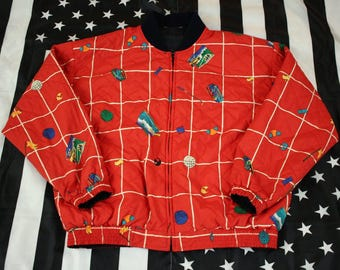 Vintage 90s Ellesse Golf All Over Print reversible jacket Size XL/XXL Oversized Spellout