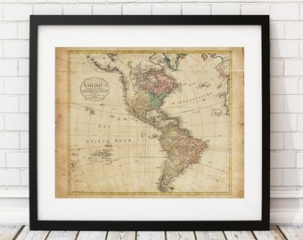 North America Map, South America Map, Vintage Map Art, Antique Map Print, Wall Art, History Gift, Old Maps, United States Map, American, US