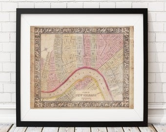 New Orleans Map, Vintage Map Art, Antique Map Print, Map of New Orleans, Old Map, Road, New Orleans Print, Louisiana Map, New Orleans Art