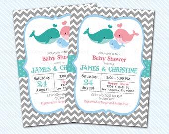 Digital Printable Whale baby Shower Invitation. baby invitation