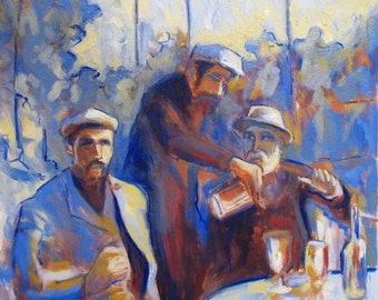 oil painting // portrait of renoir and his friends // work of art // hand-painted impressionism figurative contemporary art