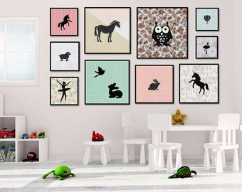Any 10 Nursery Prints - Hot Air Balloons, Feather Prints, Woodland Animals, Baby Girl Art, Nursery Art Set, Print Set, Baby Art, Girl Decor