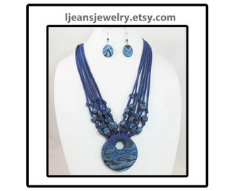 Shades of Blue Mokume Gane  Polymer Clay Pendant Necklace and Earring Set